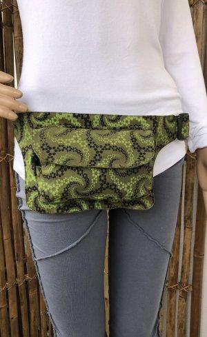 Bauchtasche Gürteltasche Canvas Baumwolle 21x15,5cm khaki schwarz grasgrün 3 Fächer Umfang 86-112cm