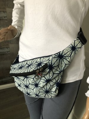 Bumbag dark blue-natural white cotton