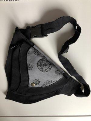 Bauchtasche Sidebag 1er Dreieck schwarz grau Canvas Baumwolle