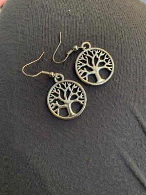 Handmade Boucle d'oreille incrustée de pierres gris clair-argenté