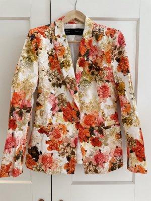 Baumwoll-Blazer mit Blumenprint