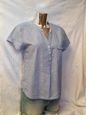 Baumwoll-Bluse, ausgeschnitten, hellblau von L.O.G.G.