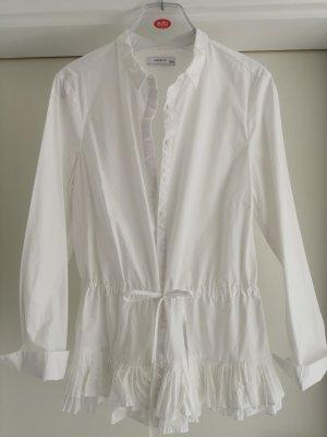 Baumwoll Bluse mit Plissee und Schnürband