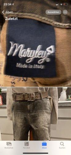 Maryley Pantalone chino marrone-grigio Cotone