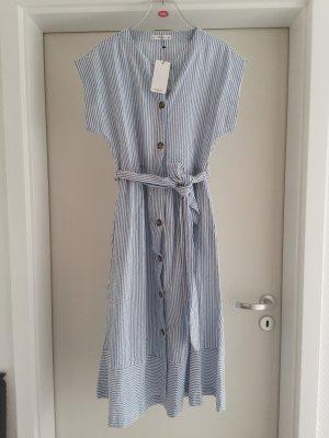 Baumwoll MIDI Kleid gestreift mit Seitentaschen Gr. M von Mango