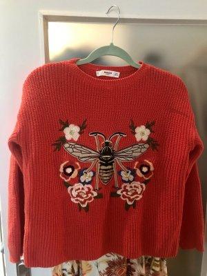 Baumwoll Pullover von Mango in Gucci Style mit aufwendiger Strickerei GrS