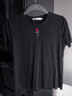 Baumwoll-T-Shirt mit Rosen-Stickerei, NA-KD