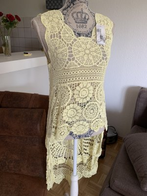 Made in Italy Tunic Dress primrose-pale yellow cotton