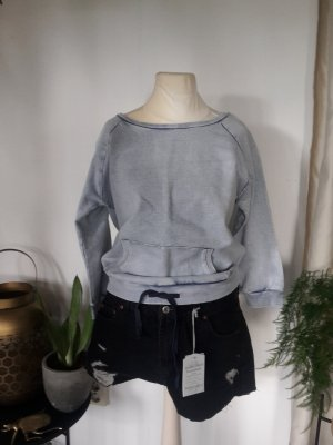 Baumwolle Bleached Jeans Sweater Acid washed Sweatshirt Cropped Shirt gebleicht Hippie Festival Boho