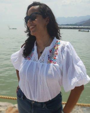 Handmade Bluzka oversize biały-niebieski