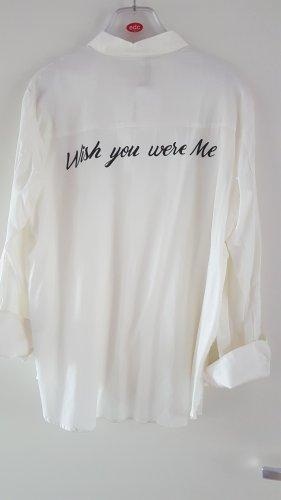 Baumwolle Hemd Bluse mit Rückenslogan Gr. L