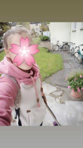 Sublevel Maglione con cappuccio beige chiaro-rosa