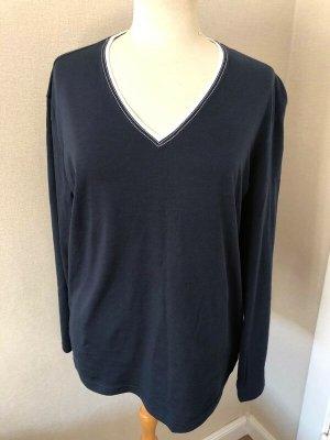 van Laack Long Shirt dark blue-white cotton