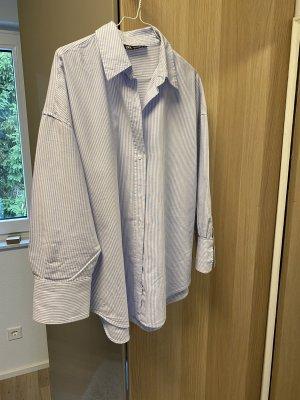 Zara Koszulowa bluzka biały-błękitny Bawełna