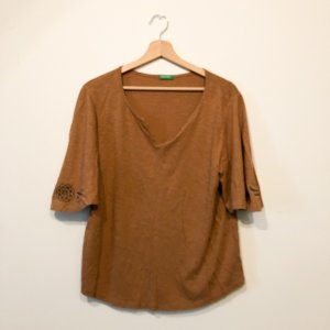 United Colors of Benetton Shirt Tunic cognac-coloured-natural white