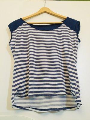 Amisu Gestreept shirt blauw-wit Katoen