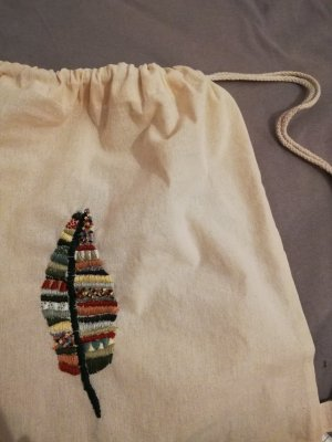 Baumwolltasche Rucksack Bestickt Feder Muster