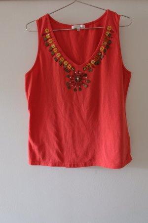 Baumwolltop mit Perlen und Pailletten