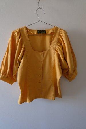 Vintage Short Sleeved Blouse light orange cotton