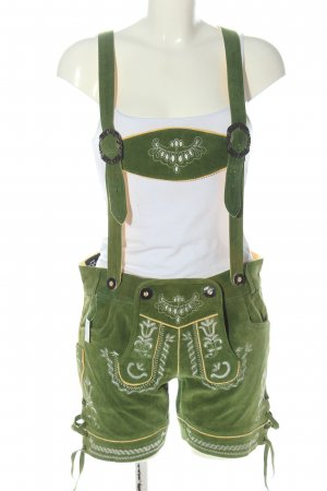 Bavaria Leder Tradycyjne skórzane spodnie zielony-biały Elegancki