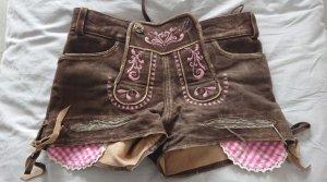 Krüger feelings Pantalon traditionnel en cuir brun-rose