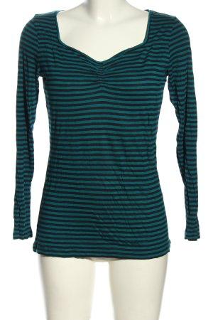BC T-shirt rayé turquoise-noir imprimé allover style décontracté
