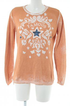 BC Knitted Sweater light orange themed print casual look
