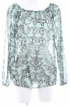 BC Transparante blouse turkoois-blauw volledige print casual uitstraling
