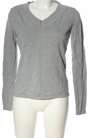 BC V-Neck Sweater light grey flecked casual look