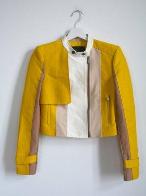 "BCBG ""Dixon"" colorblock moto jacket Jacke Curry Gelb Nude beige XXS"