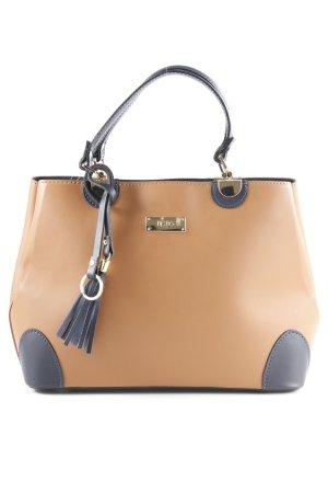 BCBG Sac à main brun-bleu foncé style classique cuir