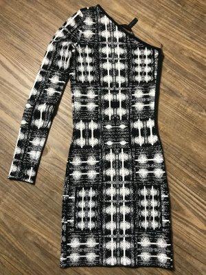 BCBG Maxazria Robe courte noir-blanc rayonne
