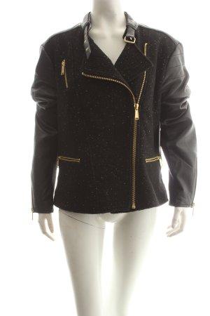 BCBG Veste en cuir synthétique noir-doré élégant tissu mixte