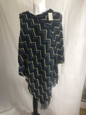 BCBG Maxazria Knitted Poncho blue-gold-colored