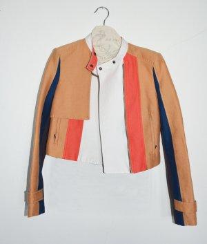 "BCBG Max Azria ""Dixon"" moto jacket Jacke Royalblau Coral Camel XS"