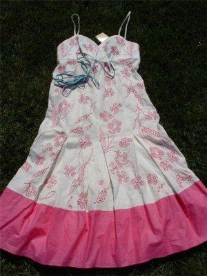 BCBG Maxazria Robe mi-longue blanc-rose coton