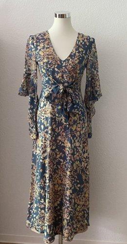 BCBG Maxazria Sukienka maxi baby blue-jasnożółty Jedwab