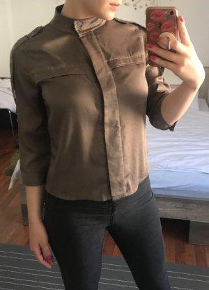 BCBG MaxAzria Bluse Damen Hemd Gr S 36 Military Style khaki Shirt Satin Designer