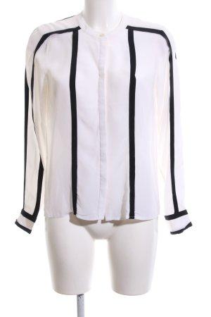 BCBG Maxazria Hemd-Bluse weiß-schwarz Streifenmuster Casual-Look