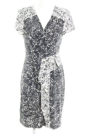 BCBG Maxazria Jerseykleid weiß-schwarz Punktemuster Business-Look