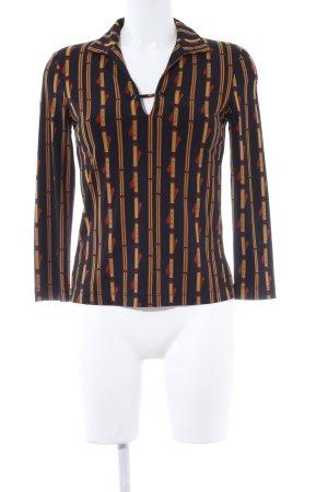 BCBG Maxazria Langarm-Bluse abstraktes Muster Casual-Look