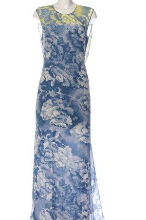 BCBG Maxazria Maxi abito blu-giallo pallido stampa integrale elegante