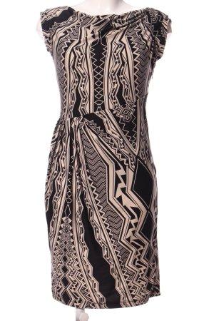 BCBG Maxazria Midi Dress black-cream graphic pattern casual look