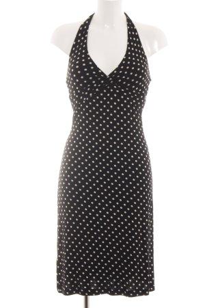BCBG Maxazria Halter Dress black-white spot pattern casual look