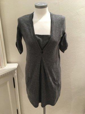 BCBG Maxazria Pullover Kleid Strickkleid Longshirt grau Wolle XS 34
