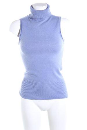 BCBG Maxazria Top con colletto arrotolato blu stile professionale