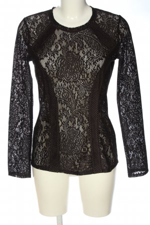BCBG Maxazria Lace Blouse black spot pattern party style