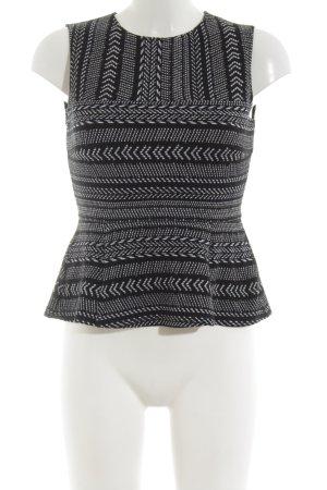 BCBG Maxazria Stricktop schwarz-weiß abstraktes Muster Casual-Look