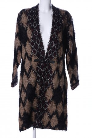 BCBG Maxazria Knitted Wrap Cardigan brown-black allover print extravagant style