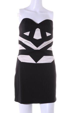BCBG Robe courte noir-blanc cassé motif abstrait style extravagant
